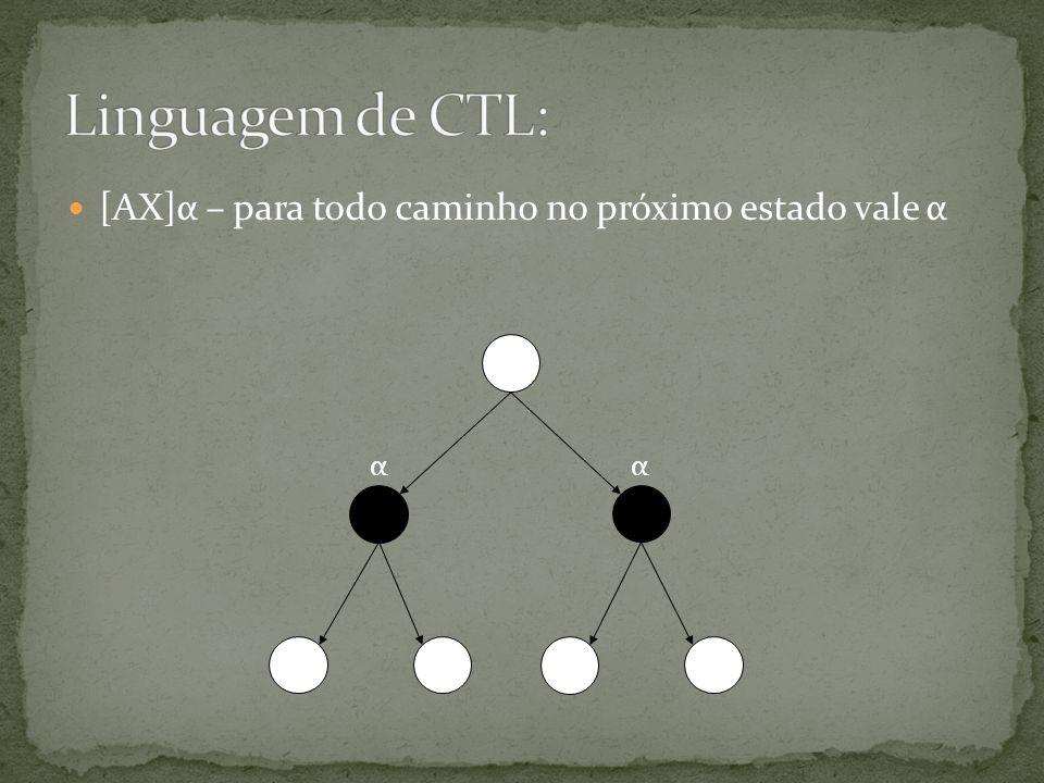 Linguagem de CTL: [AX]α – para todo caminho no próximo estado vale α α